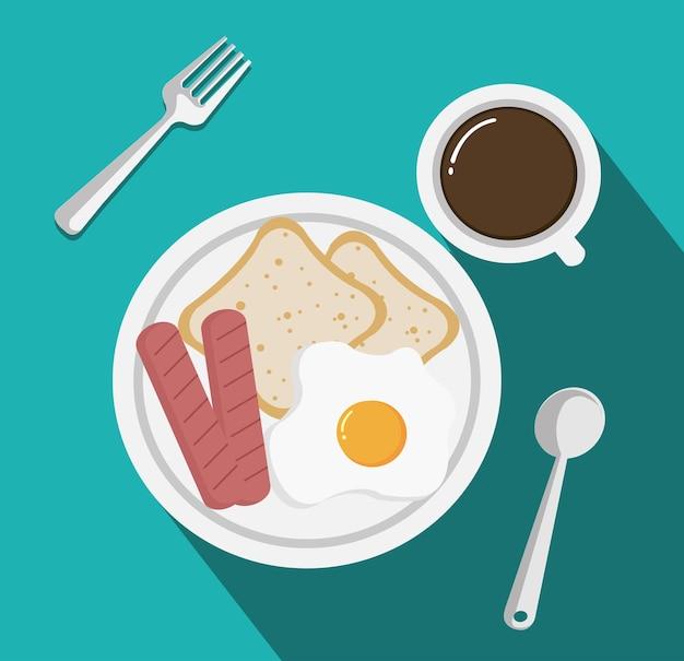 Вид сверху на завтрак с чашкой кофе, жареными яичными сосисками и хлебом на столе