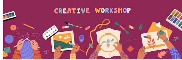 Вид сверху детей, рисующих руки, шить, вязать и резать цветную бумагу. детские художественные мастерские, обучение. горизонтальный баннер, фиолетовый стол. рисованной иллюстрации, плоский мультяшном стиле
