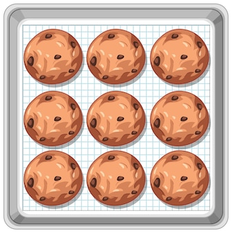 쟁반에 초콜릿 칩 쿠키의 상위 뷰