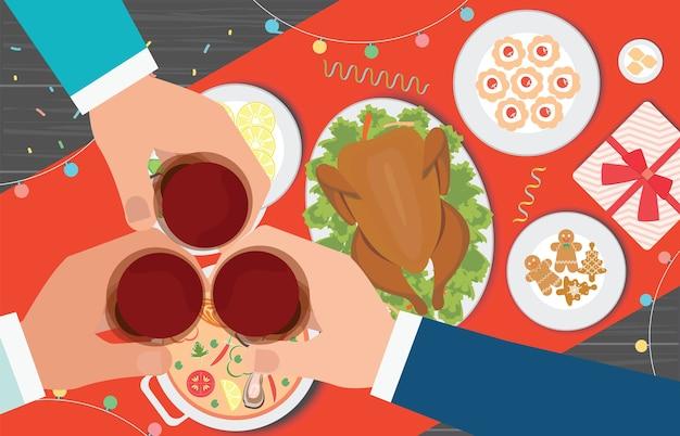 크리스마스 저녁 식사의 상위 뷰