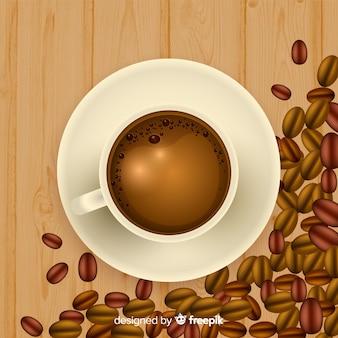 현실적인 디자인으로 커피 컵의 상위 뷰