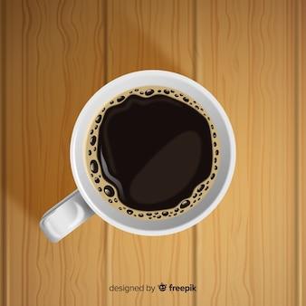 Вид сверху чашки кофе с реалистичным дизайном