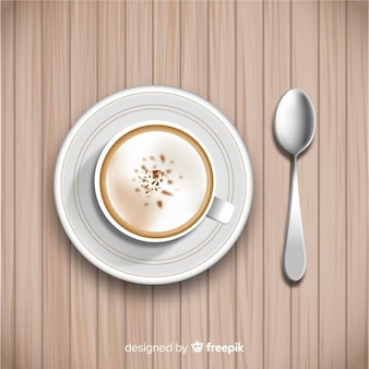 Top view of coffee cup with realistic design