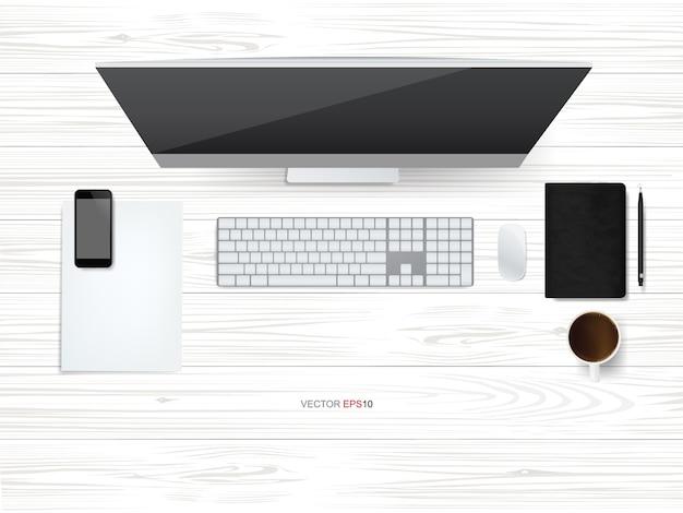 作業スペースエリアのコンピュータディスプレイの上面図