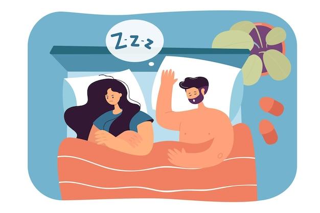 Вид сверху пара, спящая в постели плоской иллюстрации