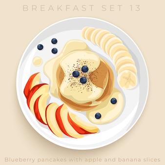 Вид сверху вкусного завтрака, изолированных на бежевом фоне: иллюстрация