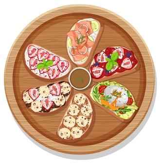 고립 된 둥근 접시에 다른 브루스케타의 상위 뷰