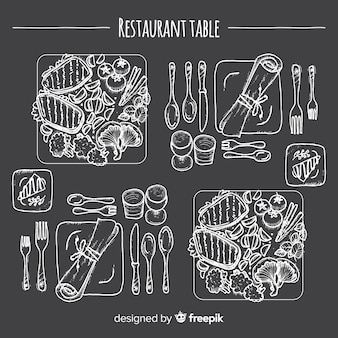 Top view of dishes on restaurant table