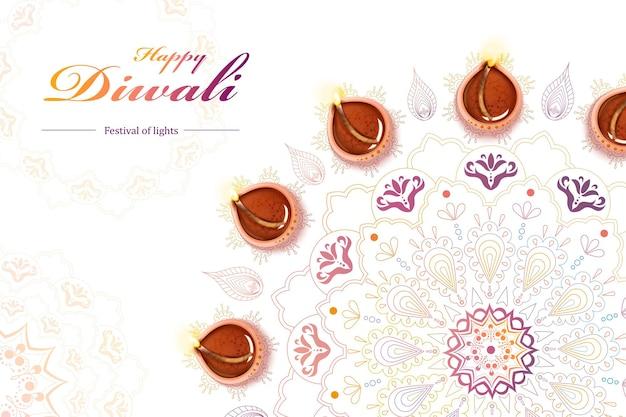 디야(diya)와 랑골리(rangoli)가 있는 디왈리(diwali) 축제 디자인의 최고 전망, 쌀 바닥으로 만든 창의적이고 다채로운 바닥 디자인