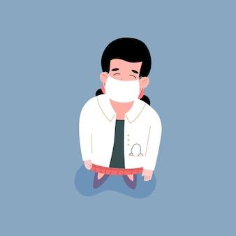 分離された医師または医療専門家のフラットベクトル図の上面図
