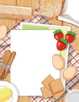 Вид сверху пустой бумаги на столе с элементом ингредиента для выпечки
