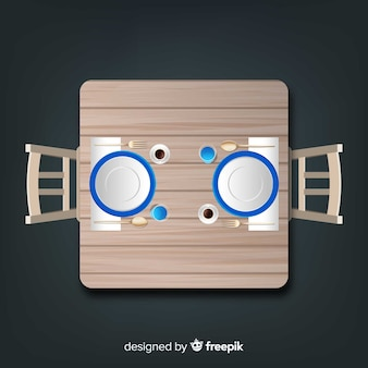 현실적인 디자인으로 빈 레스토랑 테이블의 상위 뷰