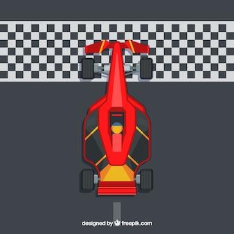 Вид сверху машины с плоской формулой 1 на финише Бесплатные векторы