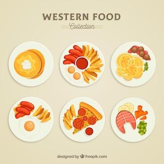 Вид сверху коллекции пищевых блюд