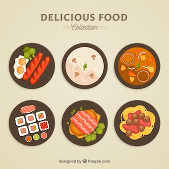 Top view of food dishes collection