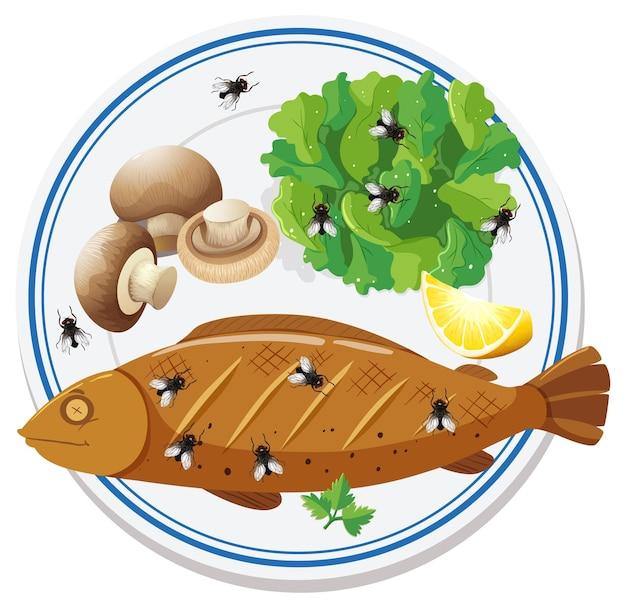 多くのハエが飛び回っている食品の上面図 無料ベクター