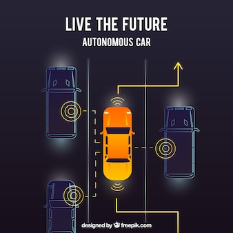 평면 디자인으로 미래의 자율 자동차의 상위 뷰