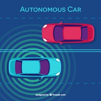 フラットデザインの未来的な自律車のトップビュー