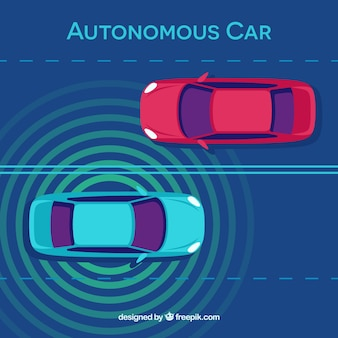 Top view of futuristic autonomous car with flat design