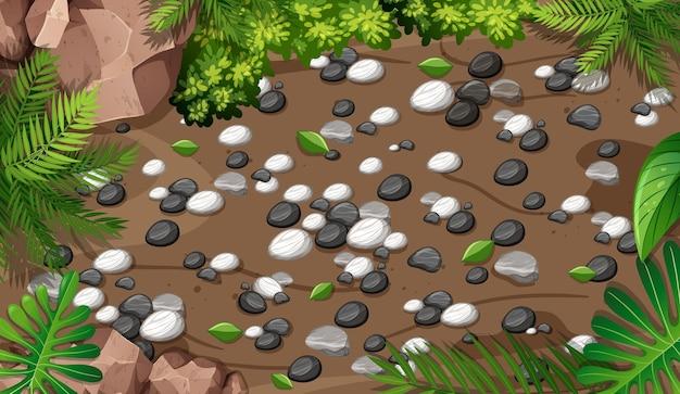 庭のクローズアップシーンの上面図