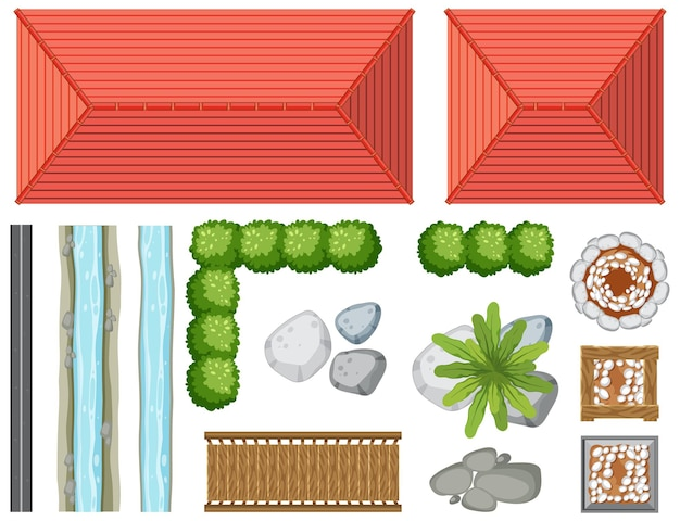 庭のオブジェクトと要素の上面図