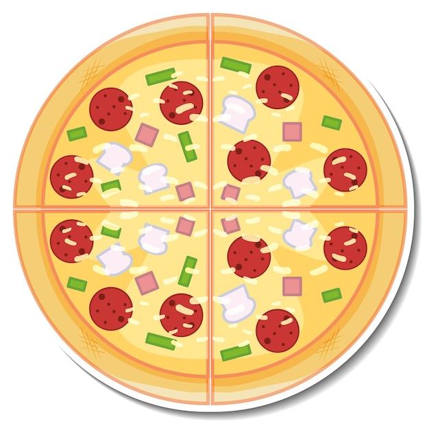 Вид сверху стикер итальянской пиццы на белом фоне