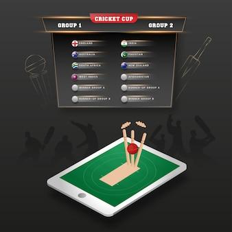 Вид сверху прямой трансляции матча по крикету на 3d-смартфон и список лиги кубка по крикету на черном фоне.