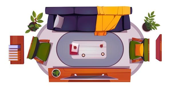 ソファ、椅子、テレビ画面付きのリビングルームのインテリアの平面図です。ソファ付きのラウンジルームの家具のベクトル漫画セット