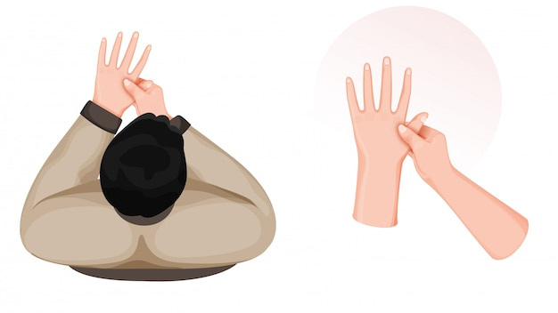 흰색 배경에 지압 손 마사지를하는 사람의 상위 뷰.