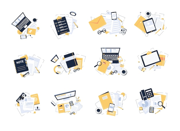 モダンでスタイリッシュな職場、事務用品、フラットなデザインイラストの平面図 Premiumベクター