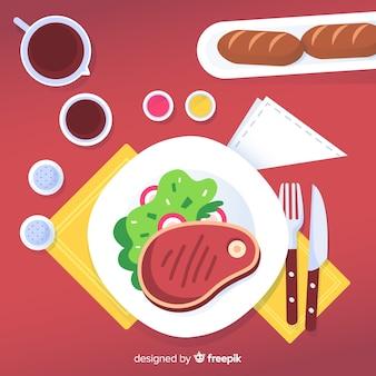 フラットデザインのモダンなレストランのテーブルのトップビュー