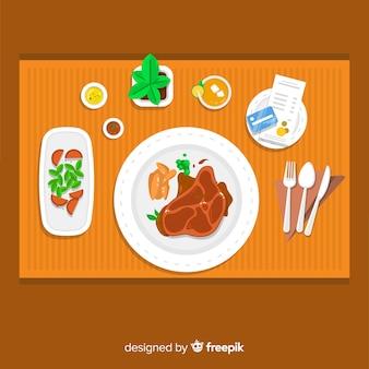 평면 디자인으로 현대적인 레스토랑 테이블의 상위 뷰