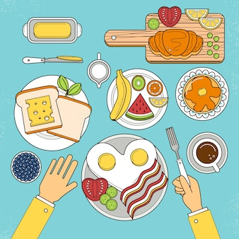 Вид сверху питательного завтрака, установленного в