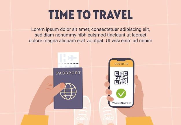 Covidワクチンの証拠としてqrコード付きの電話アプリを持っている人の上面図一方、航空会社の搭乗券付きのパスポートです