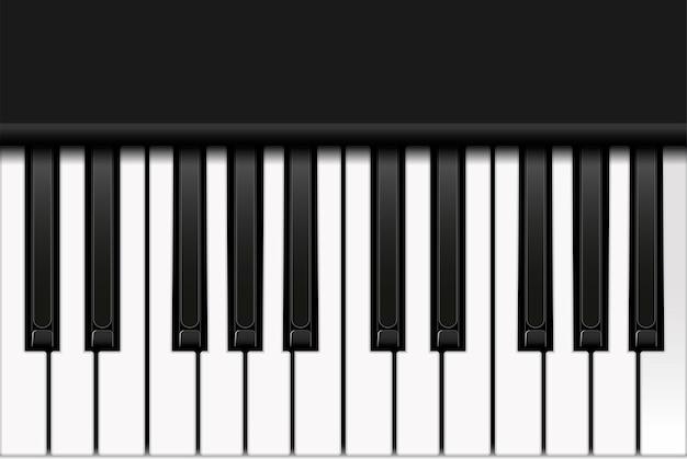 Вид сверху фортепианной клавиатуры в реалистическом стиле.