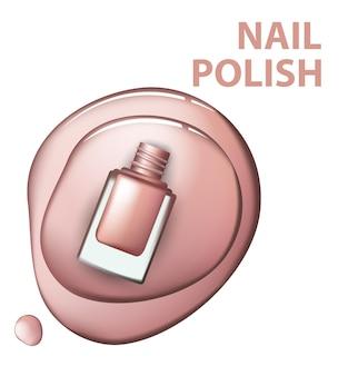 白い背景の上のピンクのマニキュアの上面図化粧品とファッションの背景テンプレートベクトル。