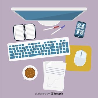 평면 디자인 전문 사무실 책상의 상위 뷰