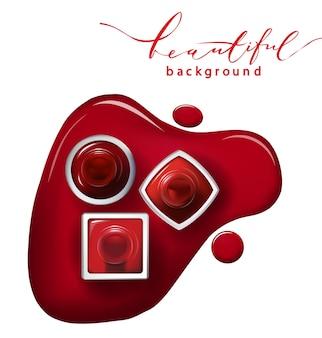白い背景の上の赤いマニキュアの上面図化粧品とファッションの背景テンプレートベクトル。