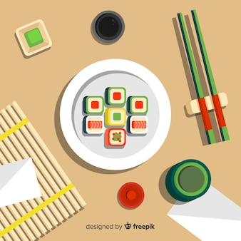 Top view of restaurant table with flat design