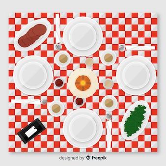フラットデザインのレストランのテーブルのトップビュー