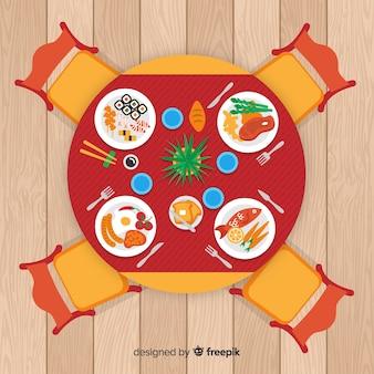 평면 디자인 레스토랑 테이블의 상위 뷰