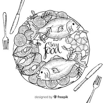 Вид сверху блюд из морепродуктов на столе ресторана