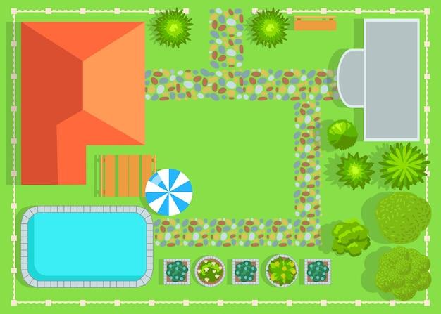 スイミングプールと庭のある小さな民家の平面図