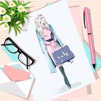 꽃, 종이, 스케치, 펜, 봉투와 함께 테이블의 상위 뷰.