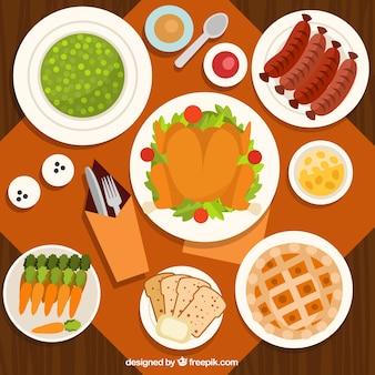 フラットデザインの感謝祭のディナーの上面図