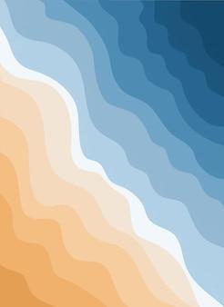 青い海と砂浜の平面図