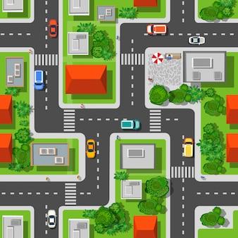 ストリート、道路、家、車の街のシームレスなパターンのトップビュー