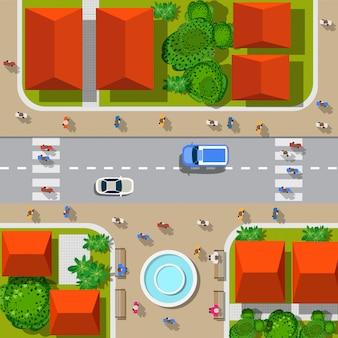 Вид на город. городские перекрестки с автомобилями и домами, пешеходы.