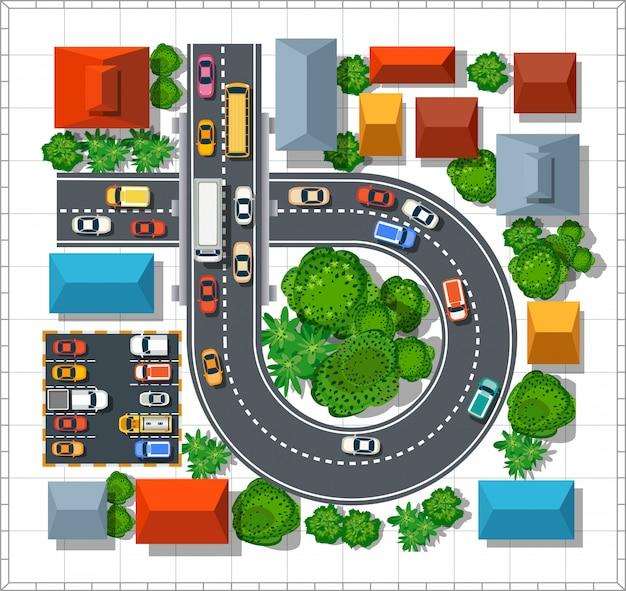 都市のトップビュー。家と木々が並ぶ都会の通り