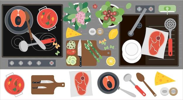 Вид сверху кухонной столешницы с кухонной раковиной, кухонное оборудование, еда и готовые блюда